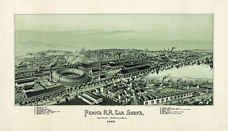 Altoona, Pennsylvania - Altoona in 1895: a Pennsylvania Railroad town. Lithograph by Thaddeus Mortimer Fowler.