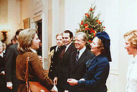 Carol Thatcher (left) with Jimmy Carter (President of the United States) and her mother Margaret (middle right)