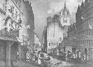 """Old Tolbooth, Edinburgh - An early 19th-century engraving showing the west gable of the """"Heart of Midlothian"""" (centre right)."""