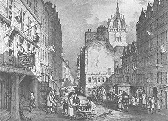 "Old Tolbooth, Edinburgh - An early 19th-century engraving showing the west gable of the ""Heart of Midlothian"" (centre right)."