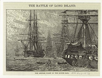 Battle of Long Island - The British fleet in the lower bay (Harpers Magazine, 1876) depicts the British fleet amassing off the shores of Staten Island in the summer of 1776