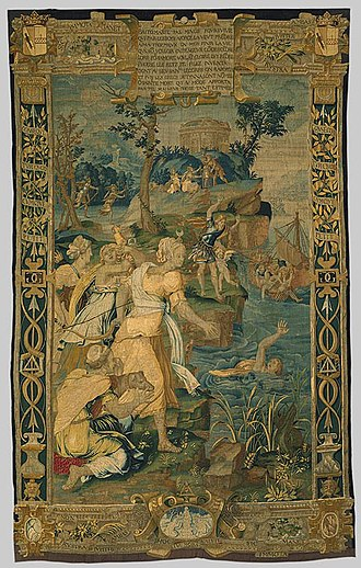 Britomartis - The Drowning of Britomartis, probably design by Jean Cousin the Elder, tapestry.