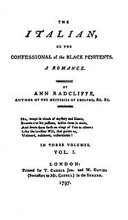 <i>The Italian</i> (novel) novel by Ann Radcliffe