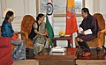 The Leader of Opposition in Lok Sabha, Smt. Sushma Swaraj meeting the King of Bhutan, His Majesty Jigme Khesar Namgyel Wangchuck and the Bhutan Queen, Her Majesty Jetsun Pema Wangchuck, in New Delhi on October 24, 2011.jpg