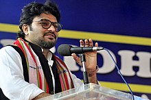 The Minister of State for Heavy Industries & Public Enterprises, Shri Babul Supriyo addressing at the inauguration of the DigiDhan Mela, in Agartala on February 21, 2017.jpg
