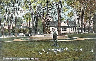 Gardiner, Maine - The Park and Palmer Fountain in 1909. Melted down for the war effort, the bronze statue was later replaced.