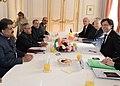The President, Shri Pranab Mukherjee and the Prime Minister of Belgium, Mr. Elio Di Rupo, at the delegation level talks, at Egmont Palace, Brussels in Belgium on October 03, 2013.jpg
