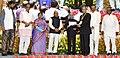 The President, Shri Pranab Mukherjee presenting the Dr. Ambedkar National Award for Social Understanding & Upliftment of Weaker Sections for the year 2011 to Professor S.K. Thorat, at a function, in New Delhi.jpg