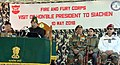 The President, Shri Ram Nath Kovind addressing the soldiers, during his visit to Siachen Base Camp on May 10, 2018. The Chief of Army Staff, General Bipin Rawat is also seen.JPG