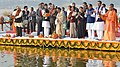 The President, Shri Ram Nath Kovind during his visits to Triveni Sangam and Lette Hanumanji Mandir, at Allahabad, in Uttar Pradesh (2).jpg