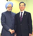The Prime Minister, Dr. Manmohan Singh shaking hands with the Chinese Premier, Mr. Wen Jiabao, on the sidelines of 7th India-ASEAN Summit, in Thailand, on October 24, 2009.jpg