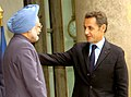 The Prime Minister, Dr. Manmohan Singh with the President of France, Mr. Nicolas Sarkozy, at Elysee Palace, in Paris on September 30, 2008.jpg