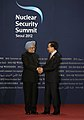 The Prime Minister, Dr. Manmohan Singh with the South Korean President, Mr. Lee Myung-bak, at the Welcome Reception for the Nuclear Security Summit, in Seoul on March 26, 2012 (1).jpg