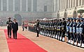 The Prime Minister of the Kingdom of Cambodia, Mr. Samdech Akka Moha Sena Padei Techo Hun Sen inspecting the Guard of Honour, during the Ceremonial Reception, at Rashtrapati Bhavan, in New Delhi on January 27, 2018.jpg