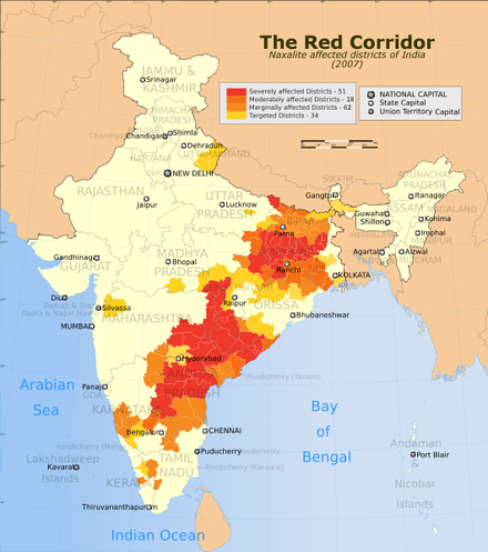 Map showing the districts where the Naxalite movement is active (2007) The Red Corridor ver 1.PNG