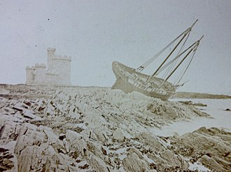 St Mary's Isle - The schooner Thomas Parker, which was wrecked on St Mary's Isle during a storm on October 26, 1867