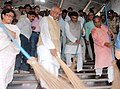 The Union Minister for Communications & Information Technology and Law & Justice, Shri Ravi Shankar Prasad participating in the cleaning drive at Patna Junction, during the Swachh Bharat Mission, in Bihar on October 02, 2014.jpg