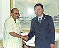 The Union Minister for Human Resource Development, Shri Arjun Singh shaking hands with the Prime Minister of Thailand Mr. Thaksin Shinawatra in New Delhi on June 3, 2005.jpg