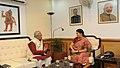 The Union Minister for Human Resource Development, Smt. Smriti Irani meeting the Governor of Tripura, Shri Padmanabha Balakrishna Acharya, in New Delhi on August 29, 2014.jpg