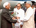 The Vice President, Shri Mohd. Hamid Ansari being received by the Governor of Bihar, Shri Devanand Konwar and the Chief Minister of Bihar, Shri Nitish Kumar at Patna Airport, Bihar on December 12, 2009.jpg