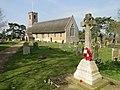 The War Memorial and church at Thurton (geograph 4417955).jpg