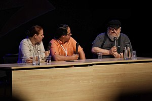 The World of Ice & Fire - Linda Antonsson, Elio Garcia and George R.R. Martin in a 2015 panel at Archipelacon, Mariehamn