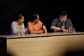 A Song of Ice and Fire fandom - Linda Antonsson, Elio M. García and George R.R. Martin in 2015.