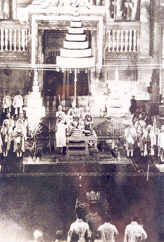 Siamese revolution of 1932 - The granting of Siam's 'permanent' constitution on 10 December 1932 at the Ananta Samakhom Throne Hall