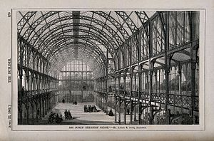 """International Exhibition of Arts and Manufactures - 1860s engraving labelled of interior of the Dublin Exhibition Palace"""""""
