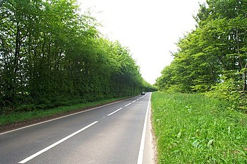 English: The open road: the B3224 across the B...
