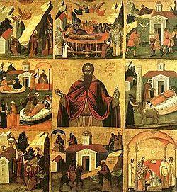 16. századi ikon Szent Theodósziosz életéről