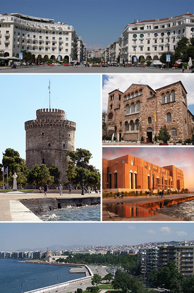 Thessaloniki montage. Clicking on an image in the picture causes the browser to load the appropriate article.