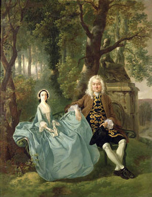 Simon Sainsbury - Mr and Mrs Carter of Bullingdon House, Bulmer, Essex by Thomas Gainsborough, one of the older paintings in the bequest