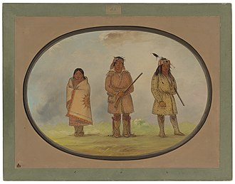 Indigenous peoples of the Northeastern Woodlands - Three Delaware or Lenape people, painting by George Catlin
