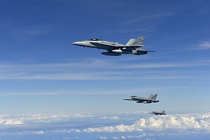 Three RAAF FA-18 Hornets in formation after refueling.jpg