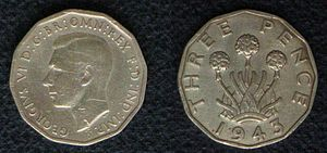 Cornish symbols - Image: Threepence 1943