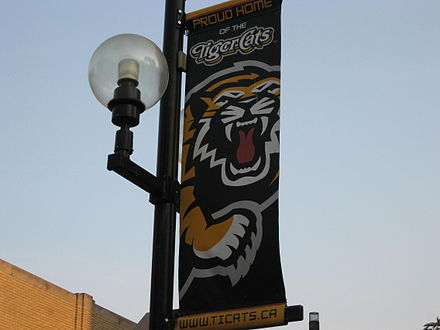 A banner along King William Street in Hamilton supporting the team, partially depicting the team's logo TicatsStreetBanner.JPG