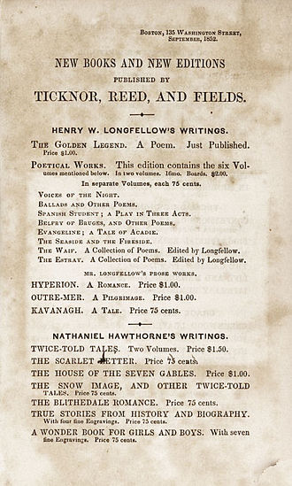 The Snow-Image, and Other Twice-Told Tales - Advertisement from Ticknor, Reed and Fields advertising several of Hawthorne's works in 1852