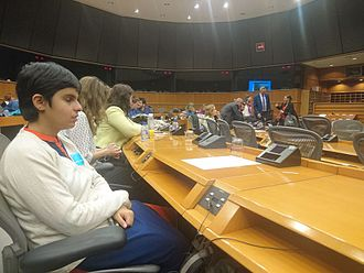 Picture was taken during her participation in the screening of a documentary about social changemakers across the globe at the European Parliament in Brussels, Belgium in the year 2017 Tiffany Brar In EU Parliament.JPG