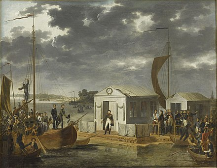 The Treaties of Tilsit: Napoleon meeting with Alexander I of Russia on a raft in the middle of the Neman River Tilsitz 1807.JPG