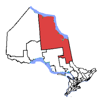 Timmins—James Bay - Timmins—James Bay in relation to other northern Ontario electoral districts