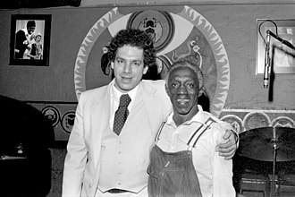 Keystone Korner - Todd Barkan, left, proprietor of Keystone Korner jazz club, San Francisco, and drummer and leader of the Jazz Messengers, Art Blakey, at Keystone Korner.  December 27, 1979.