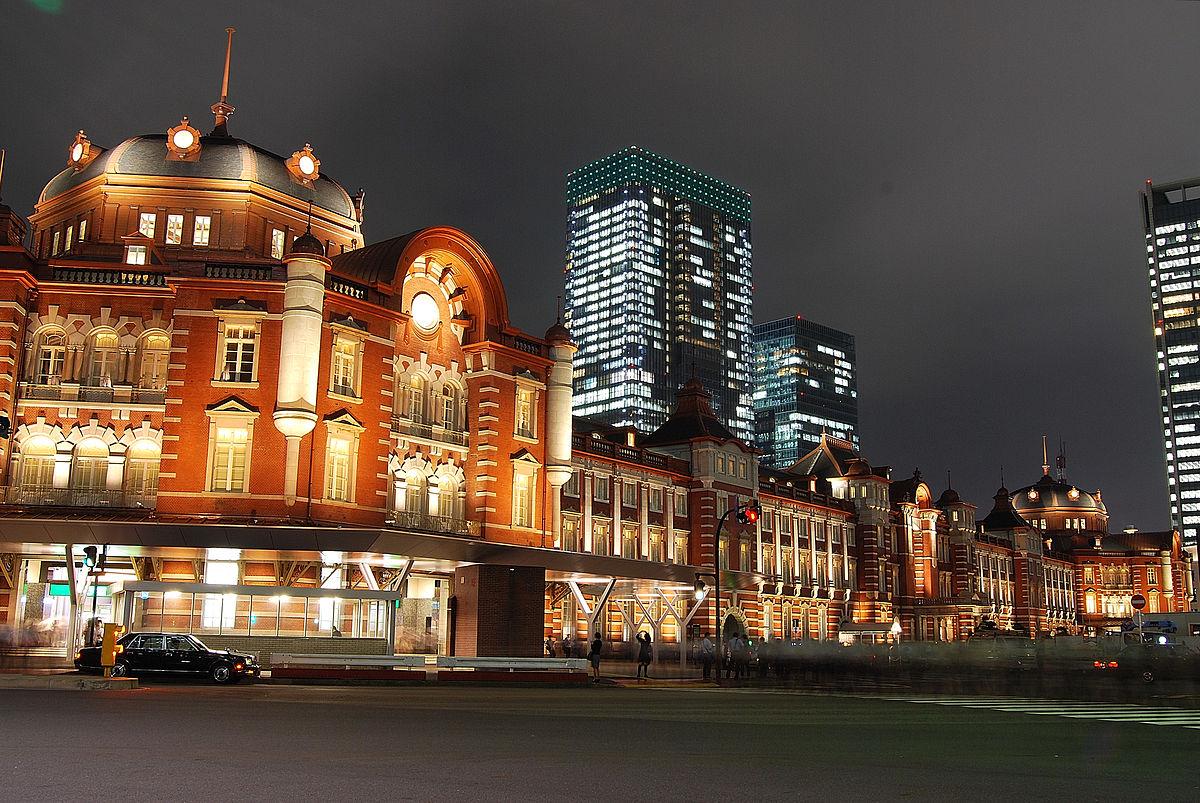 ライトアップされた丸の内駅舎(2012年10月)