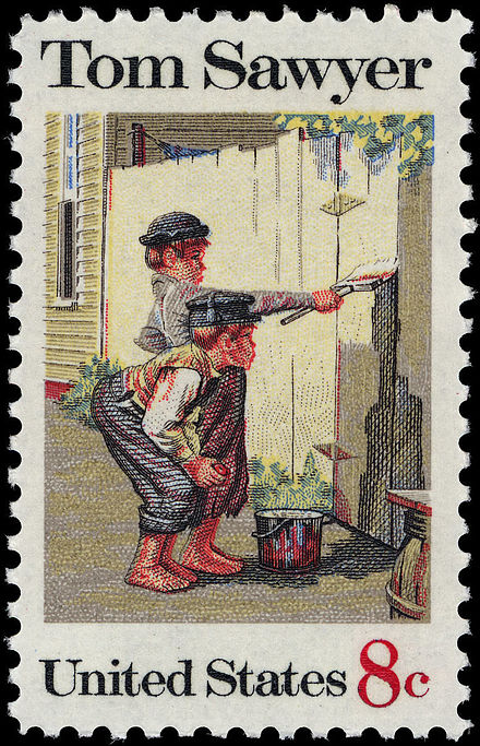 Tom Sawyer, US commemorative stamp of 1972 showing the whitewashed fence. Tom Sawyer 8c 1972 issue U.S. stamp.jpg
