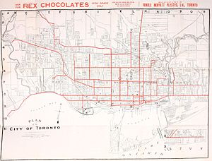 Toronto Railway Company - Map of Toronto streetcar routes in 1912