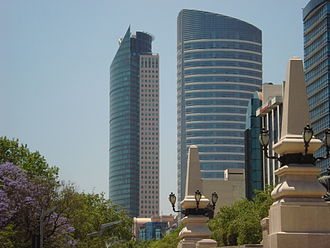 Paseo de la Reforma - A view of the Torre Libertad (Torre St. Regis) and the Torre Mayor buildings, from the base of The Angel of Independence