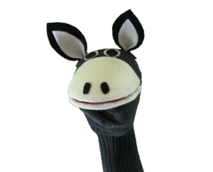 Sock puppet - A sock puppet decorated with eyes, a mouth and ears