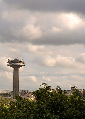 RTBF - The communications tower at RTBF's headquarters in Brussels.