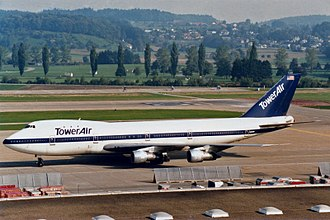 Tower Air - A Boeing 747-100 at Zurich in 1985. This aircraft was acquired from Braniff International Airways.