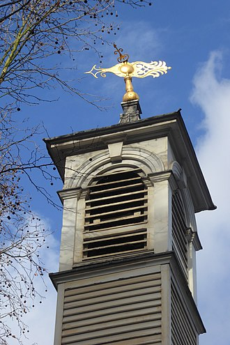 St Botolph's, Aldersgate - The tower and weather vane of the church